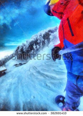 Man rides on a snowboard. Take a selfie. Winter resort, snow forest.