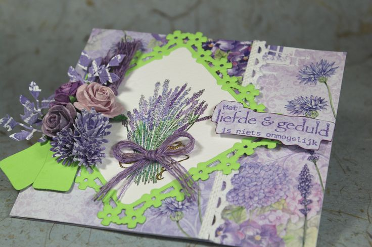 CraftEmotions Romantic Provence collection. Used products; 118040/0109 CraftEmotions Paper stack Romantic Provence, 130501/1091 CraftEmotions Clearstamps Romantic Provence - hydrangeas and lavender A6,   130501/1118CraftEmotions Clearstamps  spirituele teksten (NL) A6.
