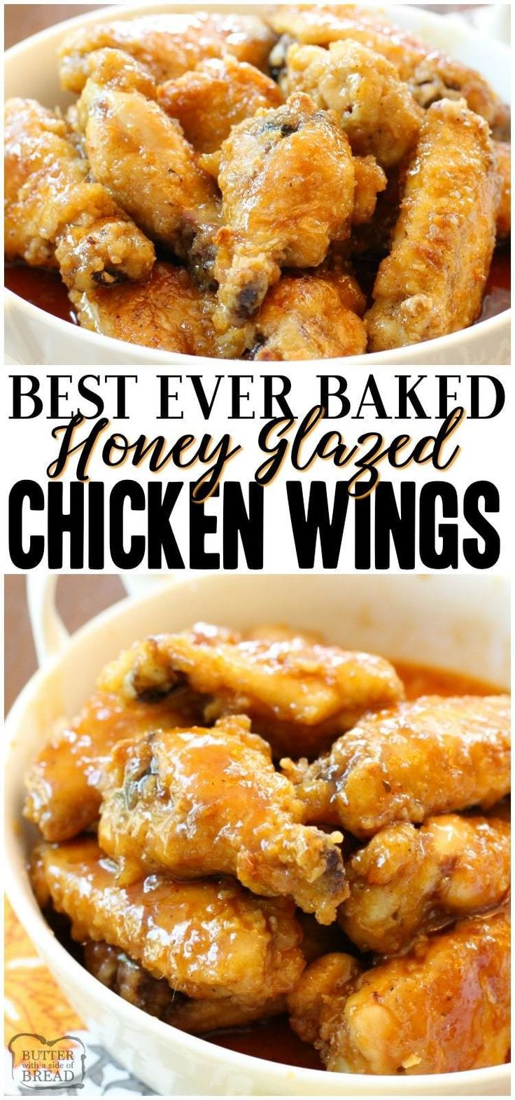 Honey Glazed Chicken Wings are baked, then smothered with a delicious sweet honey glaze. Simple bake…