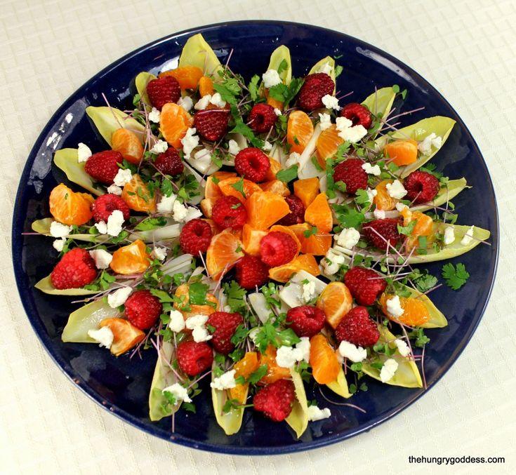 Endive Salad with Goat Cheese, Raspberries, Micro Kale & Clementine Vinaigrette #hgeats