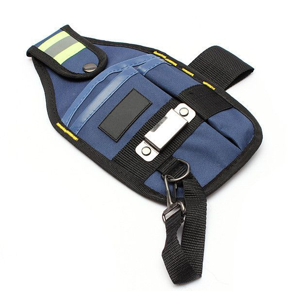 3 Pocket Professional Electrician Tool Belt Pouch With Tape Buckle. Description :  3 Pocket Professional Electrician Tool Belt Pouch with tape buckle  Features :   Thickened fabric, more wear-resisting, strong bearing force. Multi-pocket design, good helper to settle your tools. Steel tape holder, humanized design. Claw hammer lanyard, considerate design. Fixed with metal rivet, firm and durable. Superior alloy pothook, high strength. Improve work efficiency, protect the tools…
