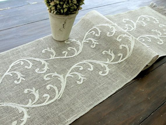 Embroidered Table Runner   Wedding Table Linens by HotCocoaDesign