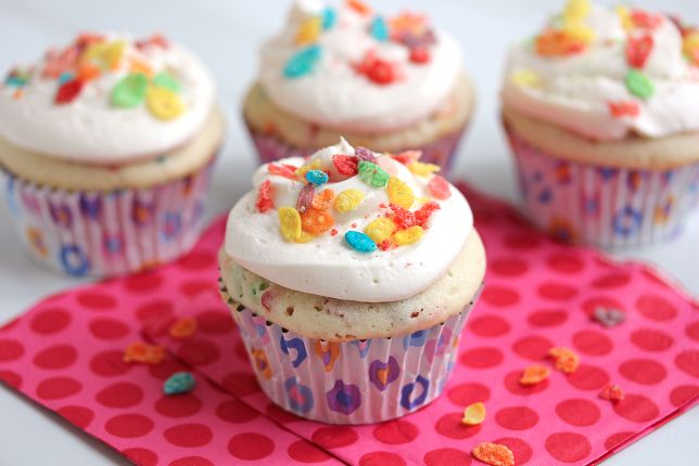 Fruity Pebble Heart Healthy Cupcakes
