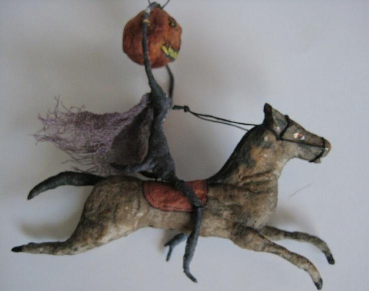 Spun Cotton Headless Horseman Halloween Ornament by maria pahls