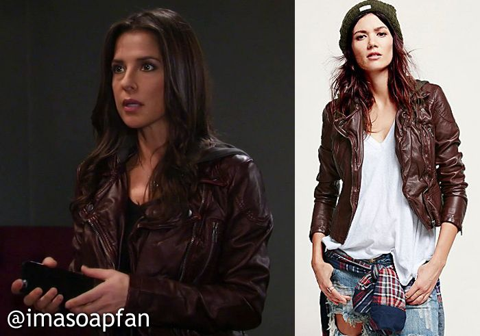 I'm a Soap Fan: Sam Morgan's Hooded Burgundy Faux Leather Moto Jacket - General Hospital, Season 53, Episode 200, 01/15/16, Kelly Monaco, #GH Fashion, Clothing, Outfits, Wardrobe Worn on #GeneralHospital