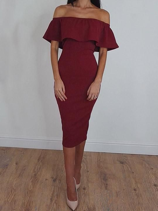 Chicnico Sexy Off The Shoulder Flounce Solid Color Dress