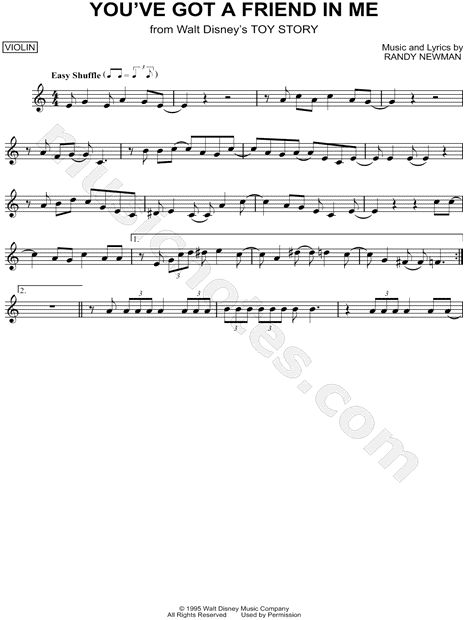 Quot You Ve Got A Friend In Me Quot From Toy Story Sheet Music