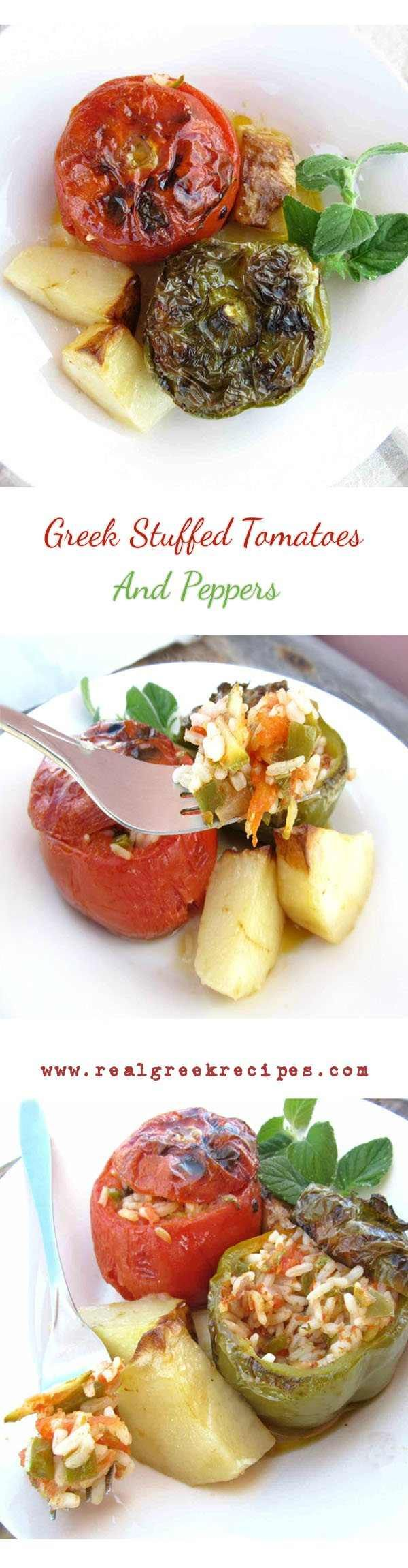 Greek Stuffed Tomatoes And Peppers, is a high-flavored summer dish. Mature sweetish tomatoes and peppers are filled, with a rice and fresh vegetable mix that gets slowly cooked in the oven. This way the rice becomes so moist and tasty. Along with a small piece of feta cheese makes a super satisfying meal for vegetarians or a perfect garnish to meat-lovers. #Stuffedtomatoes #Greekfood #ricerecipe #ricefilling