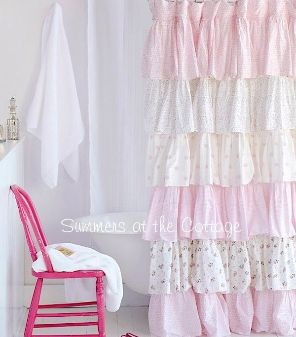 Cottage Colors Ruffle Shower Curtain Pink Roses Shabby Chic