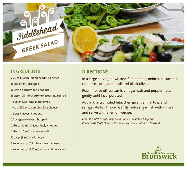 23 best new brunswick recipes images on pinterest cocktail recipes recipe fiddlehead greek salad try this recipe from the new brunswick botanical garden for forumfinder Image collections