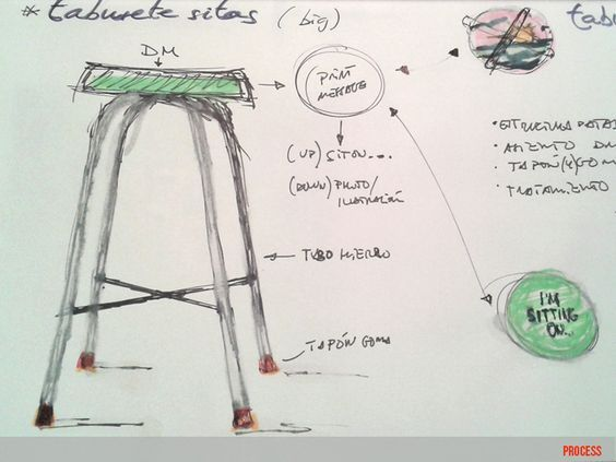 """taburete tabur on de moix - taburete alto """"de bar"""" con estructura original de acero cromado y asiento de madera de fresno - 100 €.:"""