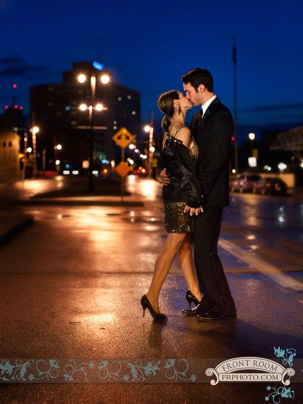 Experience Engagement – Gina & Jeff! » Milwaukee Wedding Photography – Front Room Photography Milwaukee Photographer- late night engagement - city lights - urban - rainy night photography - kiss- passion- save the date - glamour - elegant - engaged