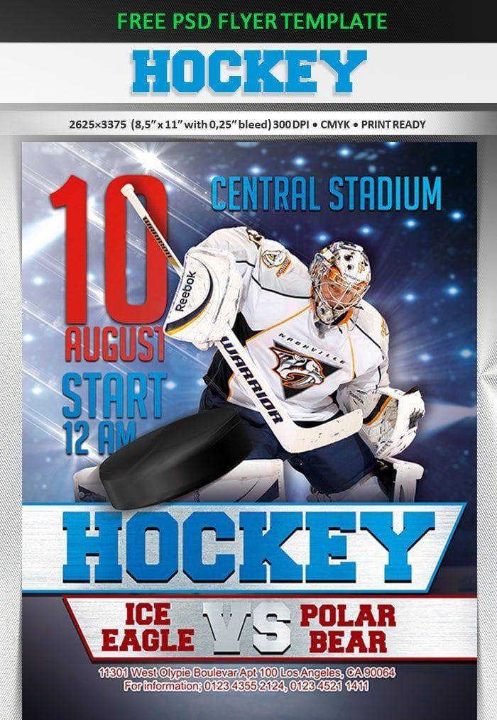 Hockey \u2013 Free Flyer PSD Template Free PSD Flyers Free psd flyer