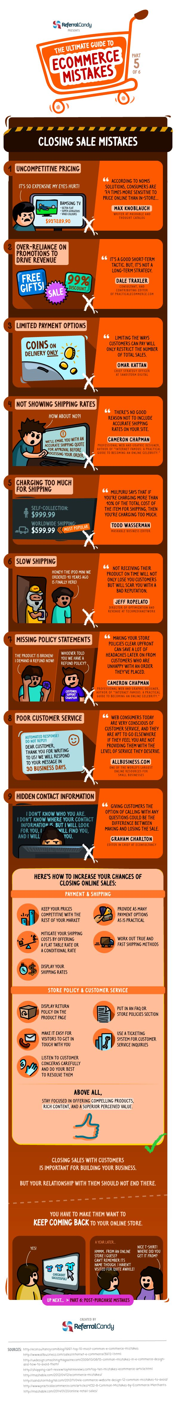 The Ultimate Guide to Closing Sale Mistakes. Great E-Commerce tips. For more Marketing tips and resources visit www.socialmediabusinessacademy.com Marketing Infographic