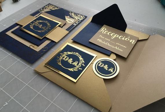 Items similar to Wedding Invitation Gold and Blue (12) / Invitaciones de Boda Azul y Dorado (12) on Etsy