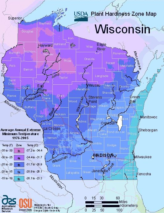 Wisconsin Planting Zone Map Small