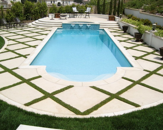 inset grass in trellis design on my roman pool