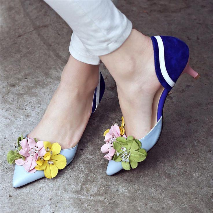 2016 замши цветы заклинание цвет тонкий высокие каблуки указал закрытым носком ПУ кожаные ботинки женщин дизайнер моды элегантные простые обувь купить на AliExpress