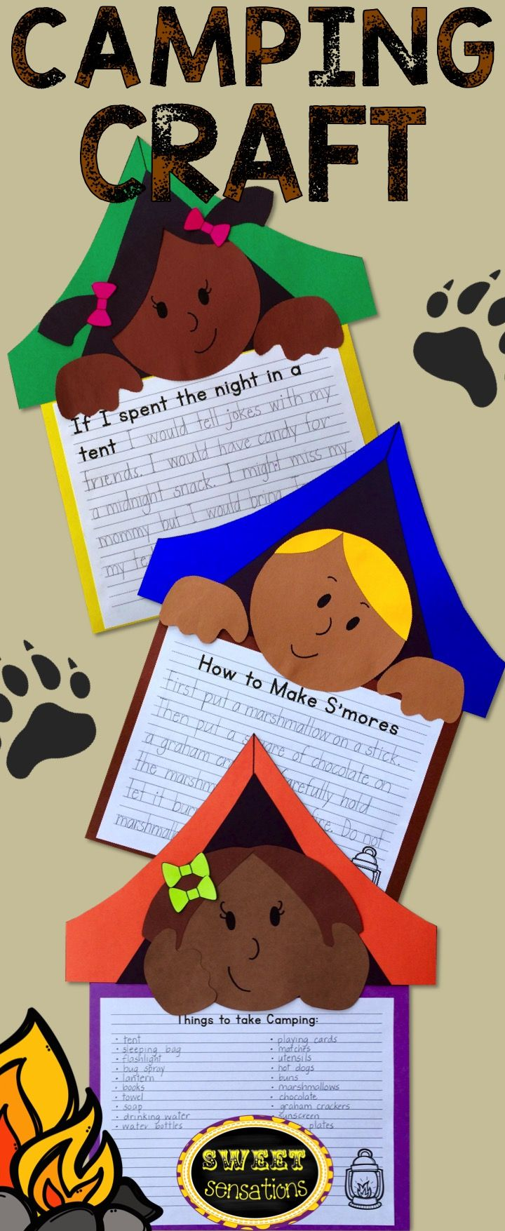 A camping themed craft activity - perfect for thinking about summer activities! Use this for camping week. $4.00