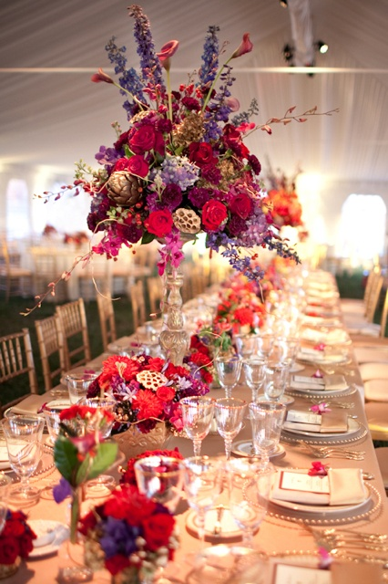 Bold colored centerpieces