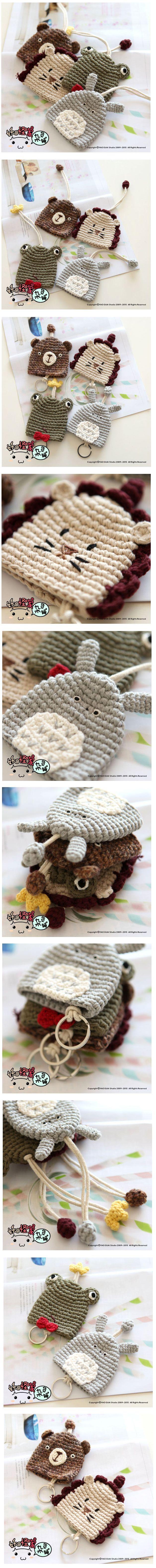 Taobao Taiwan, allmächtig Taobao - Reine Wolle handgestrickte Comic-Tiere können Geldbörsen / Anhänger streckenhä