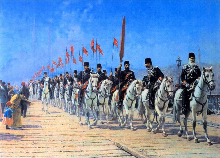 The Imperial Regiment of the Ertugrul on the Galata Bridge. Fausto Zonaro ( Italian 1854 – 1929)