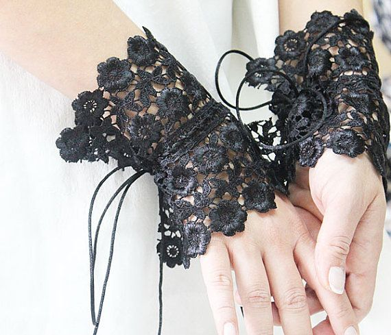 Bridal Black lace gloves, Wedding Gloves, Fingerless Gloves, Bridal Accessories, Gothic Gloves, Victorian gloves on Etsy, $32.00