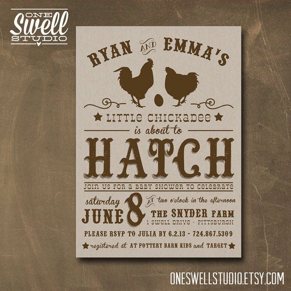 About to Hatch Chicken Rooster Hen Egg Rustic Farm Kraft DIY Printable Baby Shower Invitation 5x7 format - custom text