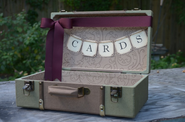 Fall wedding card holder, vintage style green suitcase