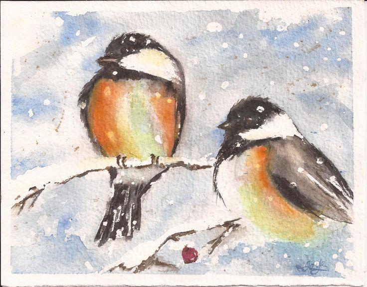Chicadees watercolour by Faye Blondin