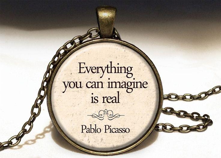Quote - Pablo Picasso, Quote Pendant, 0224PB from EgginEgg by DaWanda.com