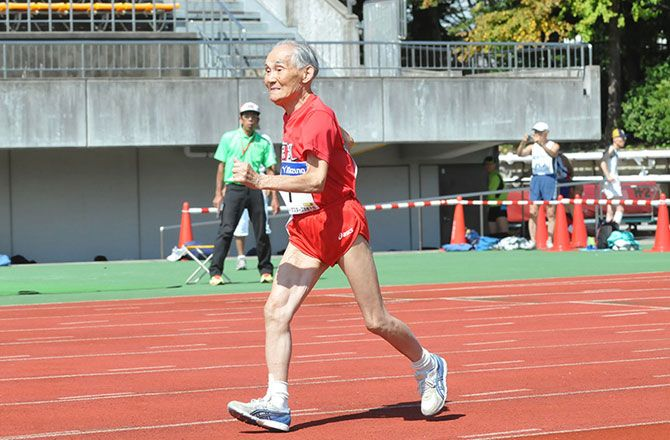 Hidekichi Miyazaki. 103-Year-Old Sprinter Challenges Usain Bolt : Discovery News  http://news.discovery.com/adventure/103-year-old-sprinter-challenges-usain-bolt-140828.htm?utm_source=facebook.com&utm_medium=social&utm_campaign=DNewsSocial