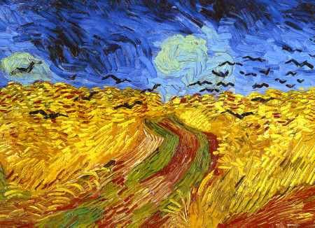 Wheat Field with Crows by Vincent Van Gogh - rumored to be Van Gogh's last painting. It's so dark....