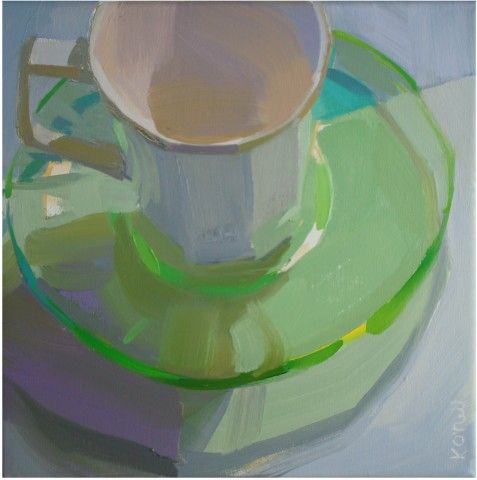 karenoneilfineart.com glass, still life, transparent, translucent, light, shadow, green, violet, white, luminous