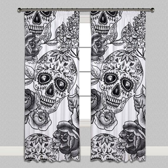 White Sugar Skull Curtains - Sizes for every window - Lined Curtains, Unlined Curtains and Sheers