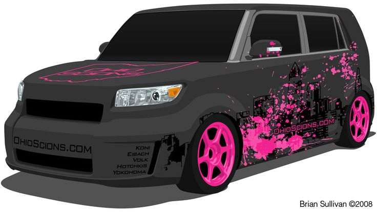 2008 Scion xB concept, love the breast cancer awareness