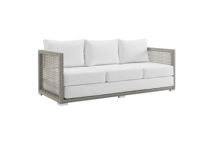 Aura Outdoor Patio Wicker Rattan Sofa in White by Modway from Gardner-White Furniture
