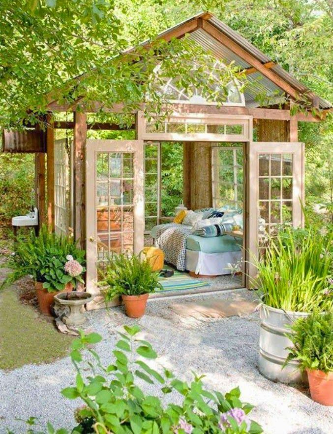 "These ""she sheds"" are the female equivalent of a man-cave.  A she shed is a little oasis that one could also call a ""zen den""."