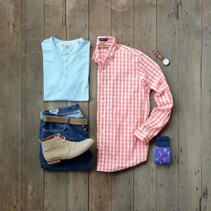 Another casual Sundays Best rocking some fun color mixture and even flamingos!  #mycreativelook  Henley: @originalpenguin from @trademenswares Shirt: @tailorvintage - Gingham Cool Touch Stretch Performance / Emberglow Denim: @jcrew - Wallace & Barnes Boots: @sitrana - Viajero Limited Suede Belt: @remotulliani - Coraggio: Natural Socks: @unsimplystitched - Colored Flamingo Watch: @danielwellington - Dapper Durham