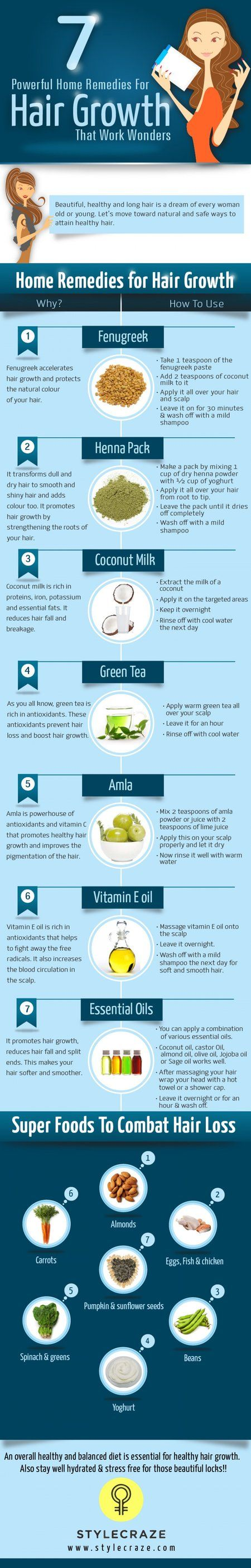 Here's How To Make Hair Grow Faster, Longer, Thicker-http://visual.ly/hair-growth-remedies
