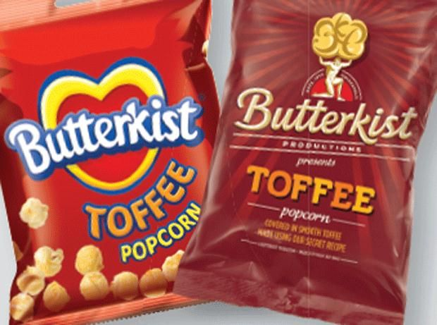 Butterkist Toffee popcorn before and after #packaging