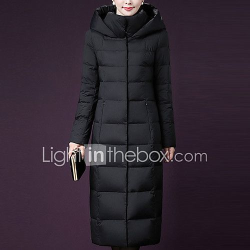 Women's Long Down Coat,Simple Plus Size Casual/Daily Solid-Polyester Polyester White Duck Down Long Sleeves 2017 - $56.99