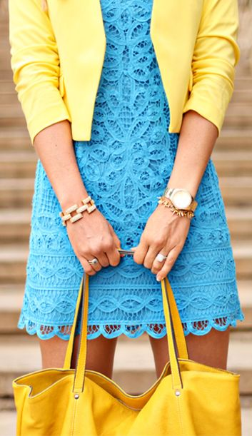 "blue + yellow. I probably like the idea of this more than the reality of it. I don't think I'd wear it. It looks a little too ""Easter egg hunt"" for me. (And I don't do yellow too well, unless it's really muted or a mustard tone.)"