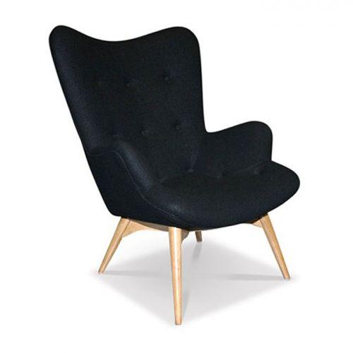 Featherston Contour Lounge Chair Fabric Black Light Ash Replica - Glicks Waterloo