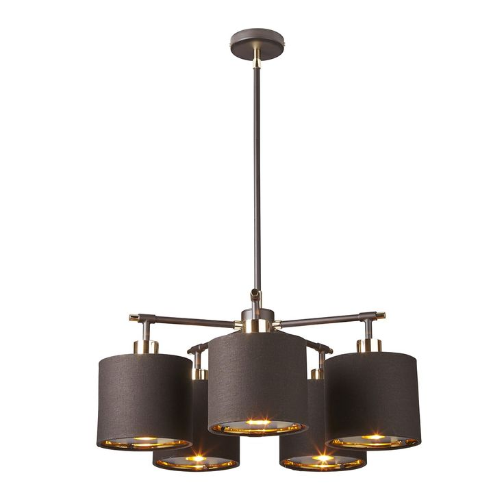 5 Light Chandelier Brown With Polished Brass