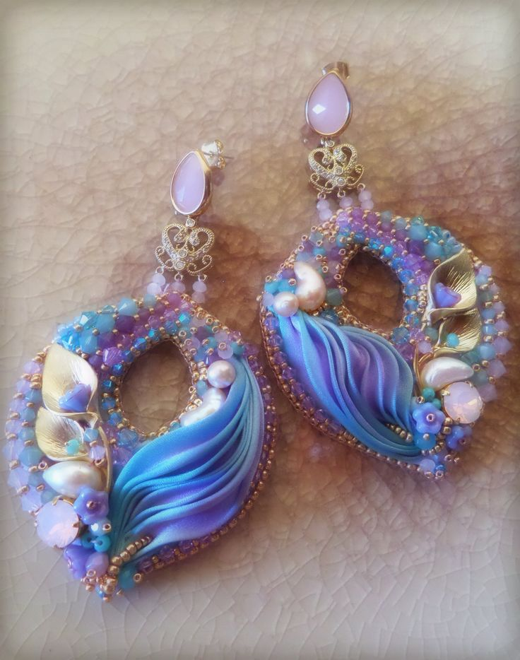 "EARRINGS - bead embroidery, shibori silk, swarovski. Designed by ""Serena Di Mercione Jewelry"""