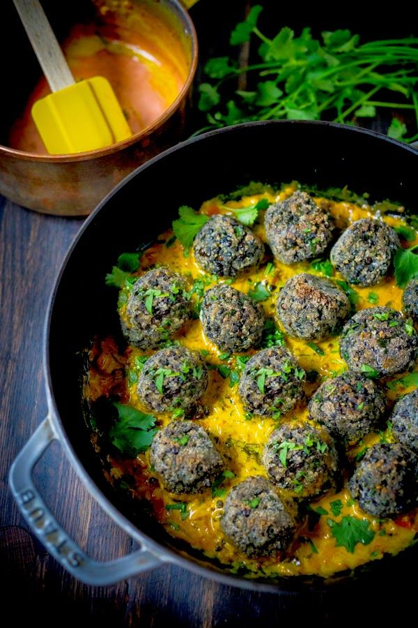 indian lentil meatballs- over indian curry sauce. vegan, gluten free!