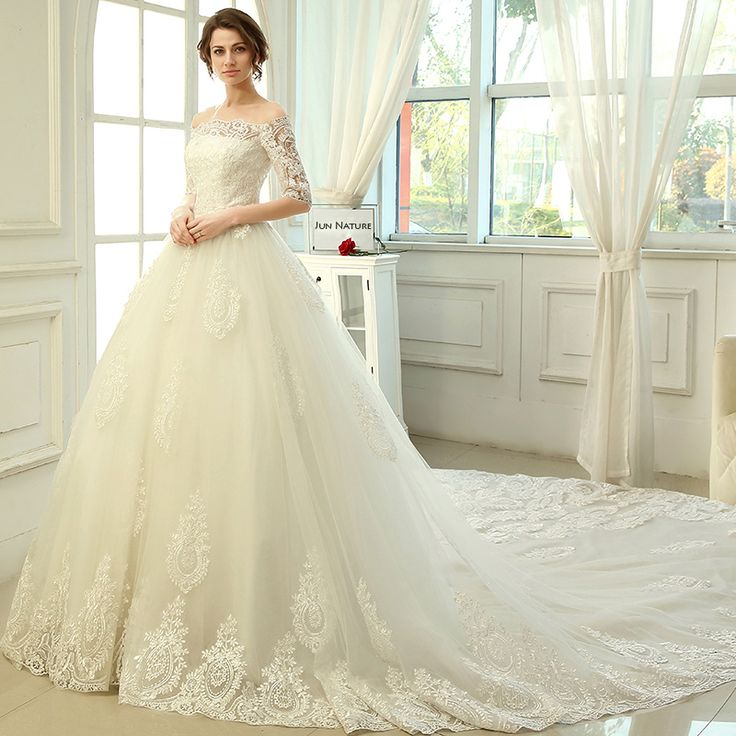 US $179.00 - 199.00 / piece Approximately Rs. 12,442.94 - 13,833.21Cheap gown embroidery, Buy Quality dress real directly from China dresse Suppliers:  2015 New Lace Boat Neck Half Sleeve Cathedral Train Ball Gown Long Wedding Dress  New Fashionable High Quality Court Tr