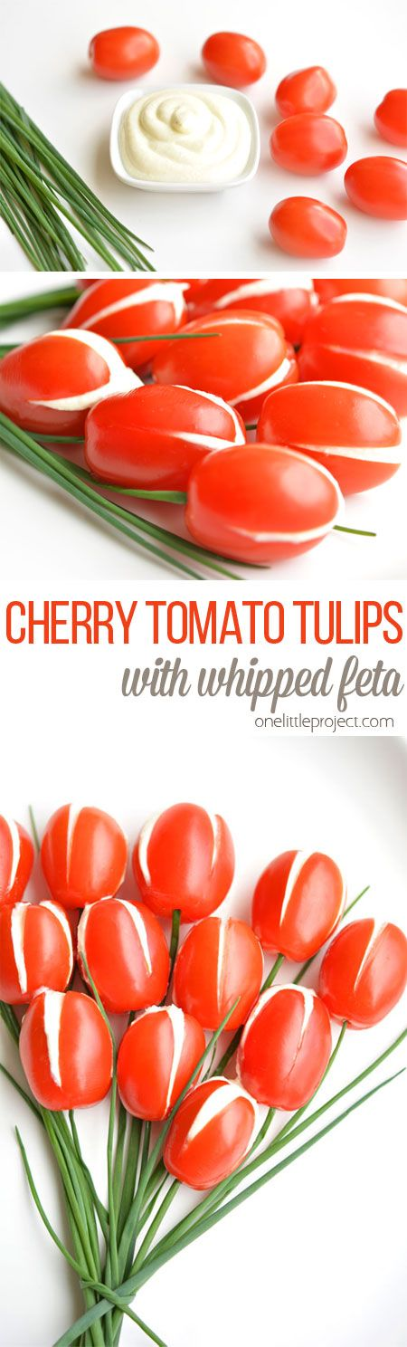 Cherry Tomato Tulips With Whipped Feta Filling