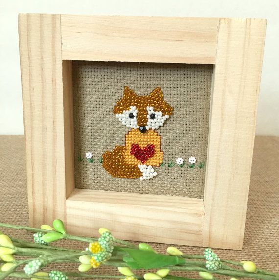 Nursery Decoration, Beaded Fox, Unique Gift Idea for Couples Shower, Baby Boy Girl, Gender Neutral Woodland Forest Nursery Theme